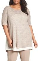 Eileen Fisher Plus Size Women's Lightweight Linen Link Stitch Sweater