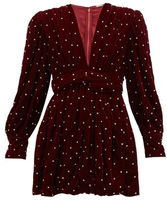 Dodo Bar Or Malenia Crystal-embellished Velvet Mini Dress - Womens - Burgundy