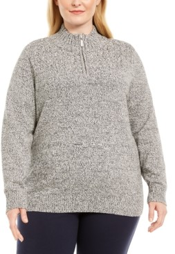 Karen Scott Plus Size Marled Cotton 1/4-Zip Mock-Neck Sweater, Created for Macy's