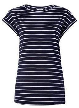 Dorothy Perkins Womens **Tall Navy Blue Striped Roll Sleeve Tee, Blue