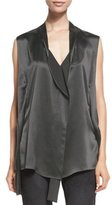 Narciso Rodriguez Deconstructed-Placket Sleeveless Vest, Graphite