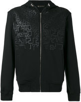 Versace Greca Key hooded sweatshirt - men - Cotton/Lamb Skin - M