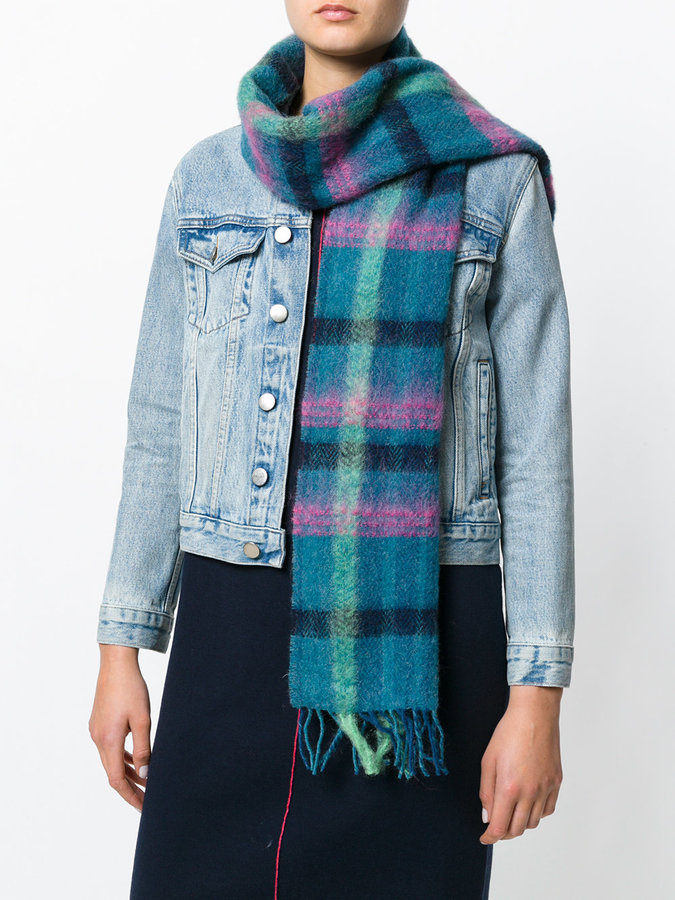 Paul Smith checked frayed scarf