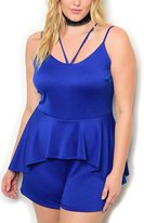 DHStyles Women's Plus Size Strappy Fitted Peplum Mini Romper