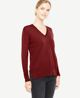 Ann Taylor Petite Extrafine Merino Wool V-Neck Sweater