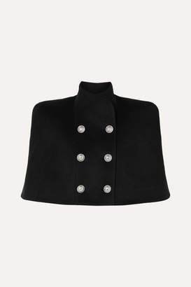 Balmain Button-embellished Double-breasted Wool And Cashmere-blend Cape - Black