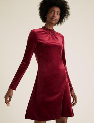 Marks and Spencer Velvet Shirred Neck Swing Dress