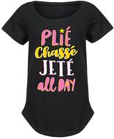 Black 'Plié Chassé Jeté' Curved-Hem Tee - Girls