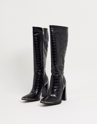 Simmi Shoes Simmi London Melisa knee boots with metal plating in black croc