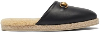 Gucci Fria Horsebit Leather And Faux-shearling Loafers - Black