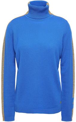 Bella Freud Metallic Striped Cashmere-blend Turtleneck Sweater