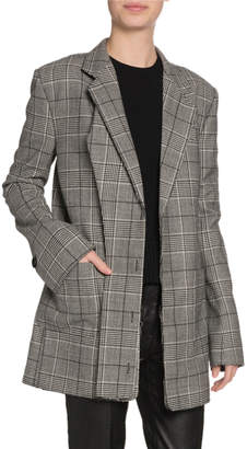 Proenza Schouler Oversized Glen-Plaid Wool Blazer