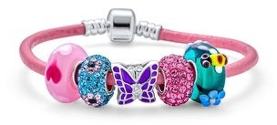 Overstock Buterfly Gargen Multi Charms Bracelet Pink Leather .925 Sterling Silver