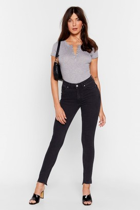 Nasty Gal Womens Have Your Fray High-Waisted Skinny Jeans - Black - 8