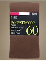 M&S Collection 3 Pair Pack 60 Denier Body SensorTM Opaque Tights