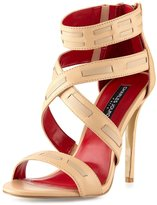 Charles Jourdan Brenna Leather Crisscross Sandal, Nude/Sand