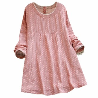 KPILP Womens Polka Dot Mini Tunic Dress Long Sleeve Round Neck Plus Size Loose fit Fashion Summer Casual Daily Short Dress for Ladies(Pink XXL)