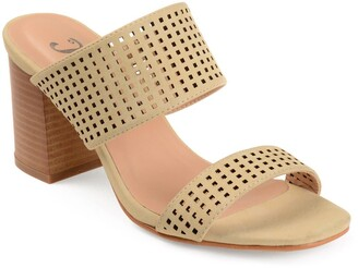 Journee Collection Sonya Perforated Block Heel Sandal