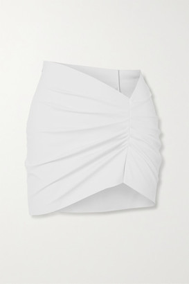 MAISIE WILEN Ruched Coated-jersey Mini Skirt - White