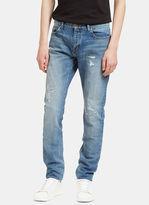 Saint Laurent Men's Destroyed Patch Skinny Jeans In Blue