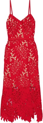 Catherine Deane Nydia Grosgrain-trimmed Guipure Lace Midi Dress