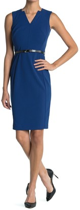 Calvin Klein Sleeveless Belted Sheath Dress (Petite)