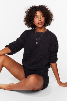 Nasty Gal Womens Something About You Knit Jumper and Shorts Set - Black - S