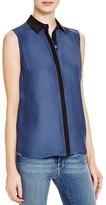 Frame Le Classic Sleeveless Silk Shirt