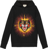 Gucci Cotton sweatshirt with angry cat appliqué