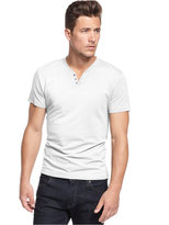 Alfani Solid Slim-Fit Split Crew-Neck T-Shirt