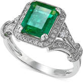 Effy Brasilica by Emerald (2-1/5 ct. t.w.) and Diamond (1/3 ct. t.w.) Ring in 14k White Gold, Created for Macy's