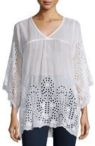 Johnny Was Avy 3/4-Sleeve Eyelet Tunic