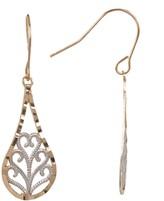 Candela 10K Two-Tone Gold Filigree Teardrop Dangle Earrings