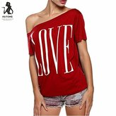 Women Summer Casual Tops T-Shirt,FUNIC Love letters Off Shoulder Short Sleeve Blouse (Medium, Red)