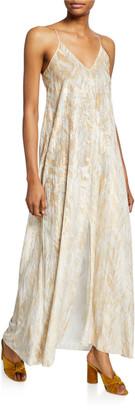 Forte Forte Printed Velvet Split-Front Slip Dress
