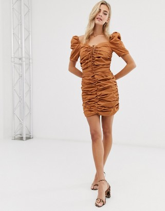 Glamorous ruched front dress with tie front
