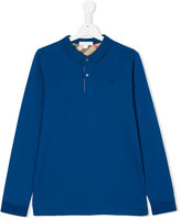 Burberry check lined polo shirt - kids - Cotton - 14 yrs