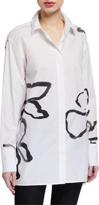 Lafayette 148 New York Plus Size Kehlani Large Vine Print Button-Down Cotton Poplin Blouse