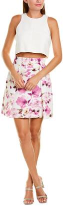 Black Halo Floral Print A-Line Skirt