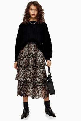 Topshop Womens Petite Brown Leopard Print Tiered Pleated Skirt - Brown