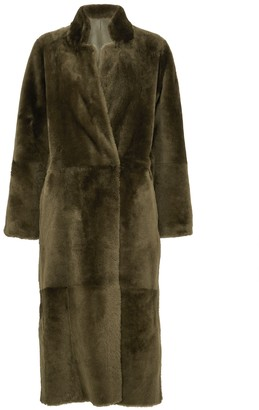 Anne Vest Dark Green Reversible Shearling Trench Coat