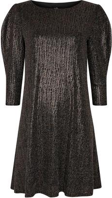 Wallis Bronze Shine Puff Sleeve Dress