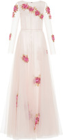 Luisa Beccaria Floral Embroidered Tulle Gown