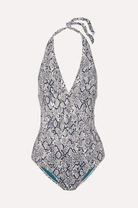 Heidi Klein Mombasa Snake-print Halterneck Swimsuit - Gray