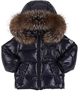 Moncler Infants' Fur-Trimmed Down-Quilted Hooded Coat - Navy