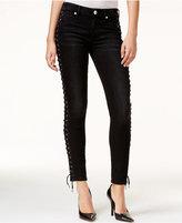 True Religion Halle Lace-Up Black Wash Super Skinny Jeans