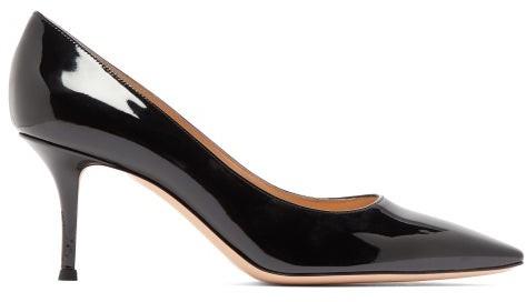 Gianvito Rossi Squared 70 Patent Leather Pumps - Womens - Black
