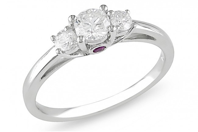 Ice 1/2 CT Diamond TW And 0.06 CT TGW Pink Sapphire 3 Stone Ring 14k White Gold GH I1;I2