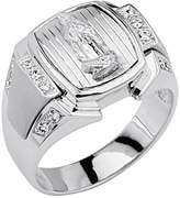 GoldenMine .925 Sterling Silver CZ Lady Guadalupe Mens Ring - Size 13