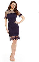 Antonio Melani Milly Crew Neck Short Sleeve Mesh Lace Dress